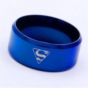 New Blue superman 8MM Stainless steel ring size 9